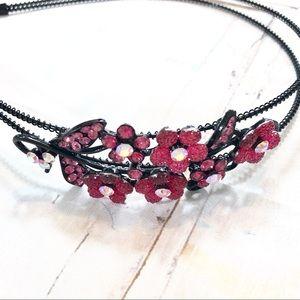 Pink Rhinestone And Black Floral Headband